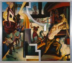 Art History News: America Today, Thomas Hart Benton's Epic Mural Cycle Celebrating Life In America, Goes To Metropolitan Museum American Realism, American Artists, Thomas Hart Benton Paintings, Industrial Paintings, Art Moderne, Portraits, Jackson Pollock, Metropolitan Museum, Les Oeuvres