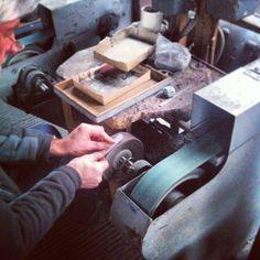 David making our trouser clip prototype. Sheffield steel.