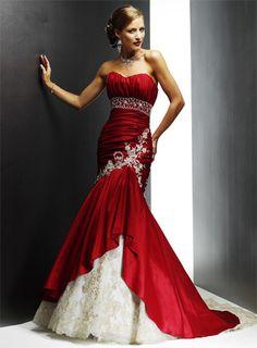 elegant taffeta trumpetmermaid and lace hot sell strapless wedding dress wm0094