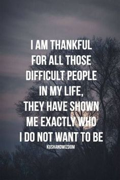 Thank you to those difficult people!! I know exactly what NOT to be like....