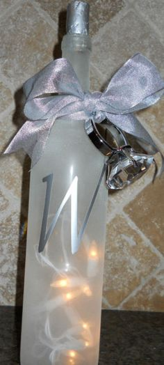 Personalized Wedding  Wine Lighted Bottle Decor. Custom Orders available in my shop on Etsy KBDecorDesigns