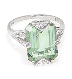 CLEARANCE SALE - 14k White Gold Ring with Green Amethyst and Diamonds only $399.00 - Gemstone Rings
