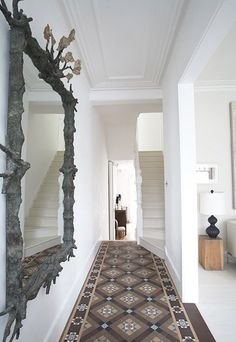 Entrance hall tiles ideas tiles design for hall floor tile ideas Tiles Design For Hall, Hall Tiles, Tiled Hallway, Entry Hallway, Tile Design, Hallway Ideas, White Hallway, Entry Tile, Hallway Mirror