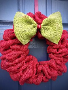 Red Burlap Christmas Wreath, Red Holiday Wreaths, Burlap Wreaths, Red Door Wreaths, Christmas Wreaths Red by WreathsByRebeccaB on Etsy