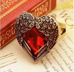Heart Beat Antique Ring-Crystal Red