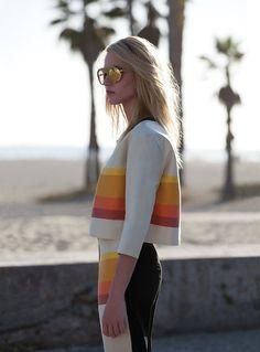 bright stripes & mirrored sunglasses #style #fashion