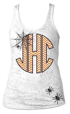 Halloween Monogrammed Shirt. Tank Top. Fall. Monograms. Chevron by SimplyStatedApparel on Etsy https://www.etsy.com/listing/203090633/halloween-monogrammed-shirt-tank-top