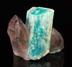 Microcline var. Amazonite with Smoky Quartz and Albite from Colorado  by Dan Weinrich