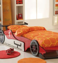 Red Formula 1 Childrens Grand Prix Racing Car Single Wooden Bed & Mattress I need this for my son Orange Bed Sheets, Car Bed Frame, Single Wooden Beds, Toddler Car Bed, Race Car Bed, Kids Bed Frames, Shops, Childrens Beds, Bed Mattress