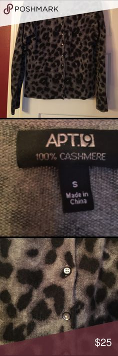100% Cashmere Apt9 Cardigan Sweater Beautiful 100% Cashmere Cardigan.  Super soft!  Wore once.  Excellent condition.  Make an offer:)! Apt. 9 Sweaters Cardigans
