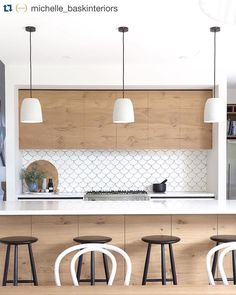 Loving this kitchen look! Shop natural wood surfaces at: www.rehau.com/us-en/furniture/surfaces/natural/rauvisio-terra
