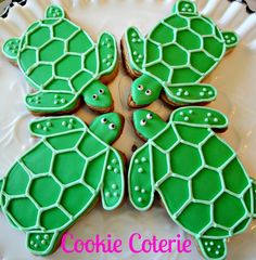 Sea Turtle Decorated Cookies Birthday Party Baby Shower Beach Wedding Cookie Favors by CookieCoterie, $27.00