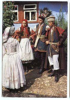 Folk costume from Kraków, Poland, vintage postcard.