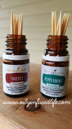 Genius!!! Flavored toothpicks with empty essential oil bottles.