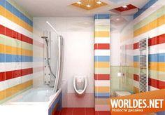 Идеи дизайна ванных комнат с красочной плиткой фото 14