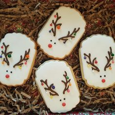 New Cookies Christmas Decorated Royal Icing Recipes Ideas Fancy Cookies, Iced Cookies, Cut Out Cookies, Cute Cookies, Cookies Et Biscuits, Cupcake Cookies, Cookie Favors, Flower Cookies, Heart Cookies