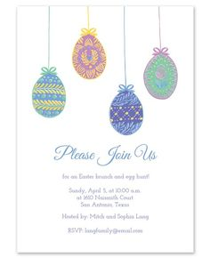 Invite your guests to a festive Easter brunch with this card. Featuring four colorfully painted eggs atop your personalized text, this invitation is sure to impress your guests!  Available at Finestationery.com