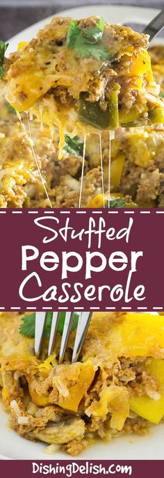 Cheesy Stuffed Pepper Casserole is a really quick and easy version of one of my favorite dishes. It's loaded with gooey cheese, fresh bell peppers, turkey, and spices. All of the flavor of stuffed peppers in one easy to clean casserole dish!
