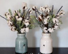 arrangement With Cotton Stems - Cotton Greenery and Lavender Farmhouse Floral Arrangement in Your Choice of Vase Color Second Anniversary Gift Idea. Country Farmhouse Decor, Rustic Decor, Southern Farmhouse, Rustic Style, Country Style, Farmhouse Style, Rustic Cafe, Rustic Backdrop, Rustic Restaurant
