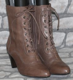 New Footglove Brown Leather Victorian Steampunk Goth Lace Up Ankle Boots 8E 42E