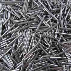 wholesale 25 mm long metallic grey round glass bugle beads per bag for handmade appliques accessories Bugle Beads, Yarns, Appliques, Round Glass, Metallic, Grey, Bag, Pictures, Crafts