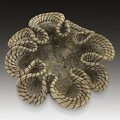 "Valerie Seaberg ""Hornet Wave"": Ceramic Sculpture, 6.0in H x 16.0in W x 14.5in D. Hand built porcelain wave, papered with a hornets nest found abandoned by the Snake River in Jackson Hole WY. Woven with horse hair and waxed thread. Please note that this piece is in the form of a bowl. Image is looking inside of the form. $2,000.00    available at www.artfulhome.com This piece ships on or before: Mon, Nov 24, 2014"