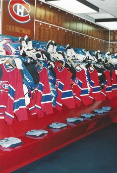 Montreal Canadiens - team dressing room from the original Forum.