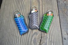 Chevron pattern leather bic lighter holder by XtreamLeatherworks