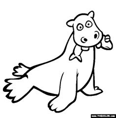 hipposeal coloring page free hipposeal online coloring