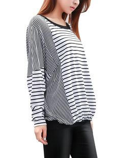 Allegra K Women Fall Winter Stripe Panel Batwing Top Loose T Shirts - Buscar con Google