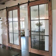 """I don't love these doors, but I like the idea of putting some glass in a door. From: """"I WANT THAT"""" Wednesday find of the week .. . - By Design """"I WANT THAT"""" Wednesday find of the week . . . have a room you would like to be able to close off BUT don't want OR don't have enough room for the door swing? How about adding sliding doors like these - they are both elegant and functional."""