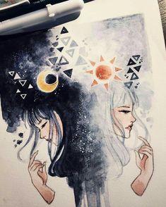 Gemini By Peithedragon Inspiration Art, Art Inspo, Cute Drawings, Drawing Sketches, Dark Art Drawings, Art Zodiaque, Bel Art, Gemini Art, Gemini Traits