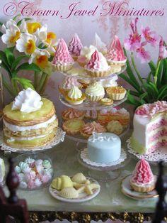 Cupcakes, tarts, meringues, cakes, chocolates and desserts by IGMA Artisan Robin Brady-Boxwell (Crown Jewel Miniatures)