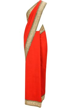 Red embroidered fletcher sari with gold blouse piece available only at Pernia's Pop-Up Shop.