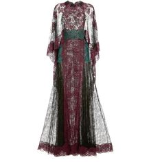 Valentino Lace Capsleeve Gown With Lace Cape (26,720 CAD) ❤ liked on Polyvore featuring dresses, gowns, long dresses, valentino, nero, black gown, black lace ball gown, black lace slip и black lace evening dress