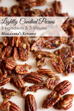 Lightly Candied Pecans - Pecans with a kiss of dark brown sugar and butter, perfect with pumpkin pie or alone in a dish. Only three ingredients and 5 minutes. Pecan Recipes, Snack Recipes, Dessert Recipes, Cooking Recipes, Pecan Desserts, Candied Nuts, Sugared Pecans, Candied Pecans For Salad, Praline Pecans