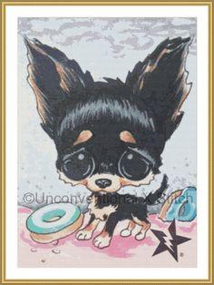 Black Chihuahua dog cross stitch pattern  by UnconventionalX