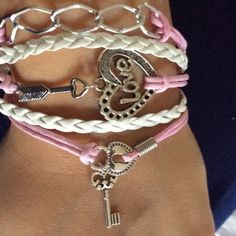 Pink and white heart and key bracelet Bundle up and save Jewelry Bracelets