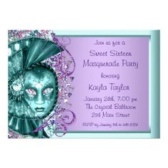 Purple Teal Blue Sweet Sixteen Masquerade Party Invitations