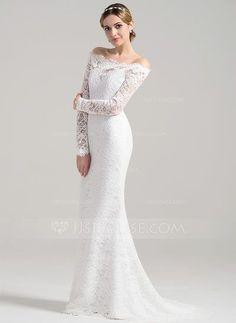 Trumpet/Mermaid Off-the-Shoulder Sweep Train Zipper Up Covered Button Sleeves Long Sleeves Church Beach Hall General Plus No Winter Spring Fall Ivory Lace Wedding Dress