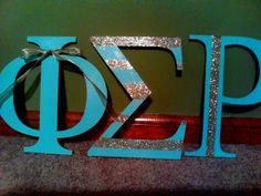 Wooden letters that I made for my little. Glitter. Phi Sigma Rho. PRL. Phi Rho Love