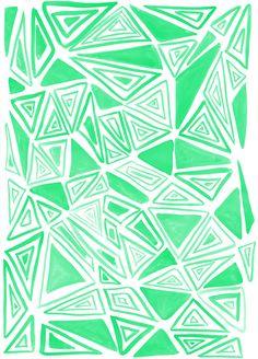 Triangles Green Art Print