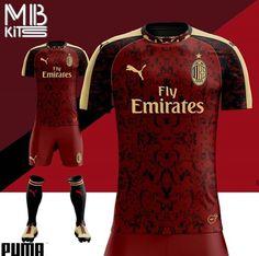 Red, black, and gold AC Milan third kit concept❤🖤⚽️ Soccer Kits, Football Kits, Barcelona Football, Fc Barcelona, Sports Jersey Design, Jersey Designs, Sport Wear, Sport T Shirt, Kit Design