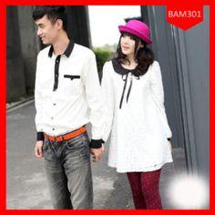 Dress Couple White Combi Brukat Terlaris