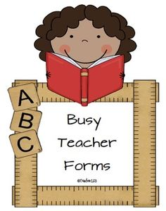 Busy Teacher Forms - Eighteen forms to help any busy teacher.  Forms include:  Behavior charts, estimation jar note, snack reminder, student information form, reading log, reading log rubric, weekly report which includes behavior and work habits, assignment paper for collecting students' work, happy notes, supply alert, tardy reminder, desk fairy, and a wish list letter to parents.
