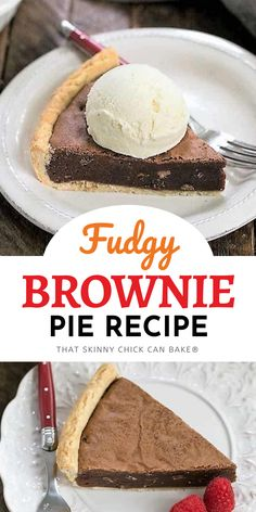Fudgy Brownie Pie - Rich brownie filling studded with chocolate chips and baked in a flaky pastry shell! #brownies #chocolatepie #browniedessert #chocolatelovers #easybrownierecipe #browniepie #easydessert Homemade Desserts, Easy Desserts, Delicious Desserts, Brownie Desserts, Brownie Recipes, Pie Dessert, Dessert Recipes, Flaky Pastry, Sweet Pie