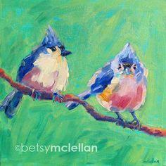 Titmouses  Tufted Titmouses  Bird Art  door betsymclellanstudio