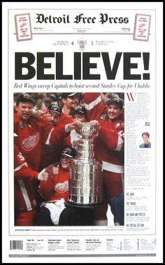 Detroit Free Press front page Detroit Hockey, Detroit Sports, Hockey Teams, Detroit Tigers, Rangers Hockey, Hockey Logos, Sports Teams, Detroit Red Wings, Hockey Boards