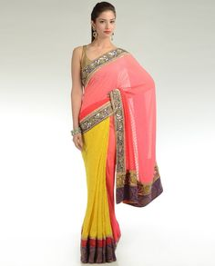 Bright Yellow and Candy Pink Sari. i would go with a purple blouse though...