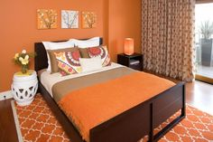 Bryce Canyon - BM - Hillside Sanctuary: Tangerine guest bedroom by Kimball Starr Interior Design - contemporary - bedroom - san francisco - Kimball Starr Interior Design Orange Rooms, Bedroom Orange, Orange Walls, Tangerine Bedroom, Coral Bedroom, Orange Curtains, Patterned Curtains, Murs Oranges, Bedroom Color Combination